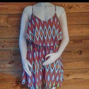 My Michelle Multi Colored V Neck Dress